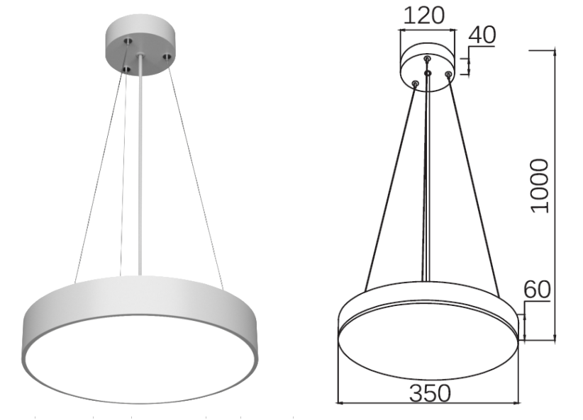 Cylinder LED  pendant light 30W / 40W / 50W / 60W-1