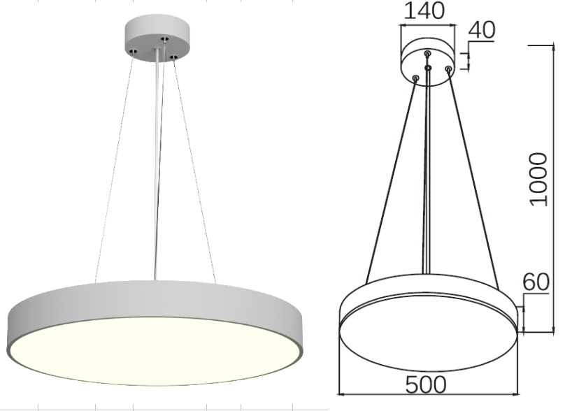 Cylinder LED  pendant light 30W / 40W / 50W / 60W-3