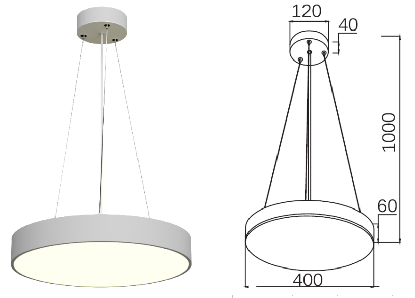 Cylinder LED  pendant light 30W / 40W / 50W / 60W