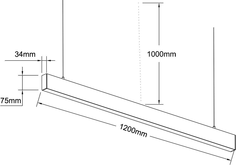 3475 office linear pendant light 1.2M MIX type 30W